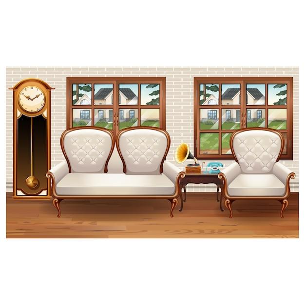 Wohnzimmer Dekoration Vintage: Vintage Living Room Decoration Vector