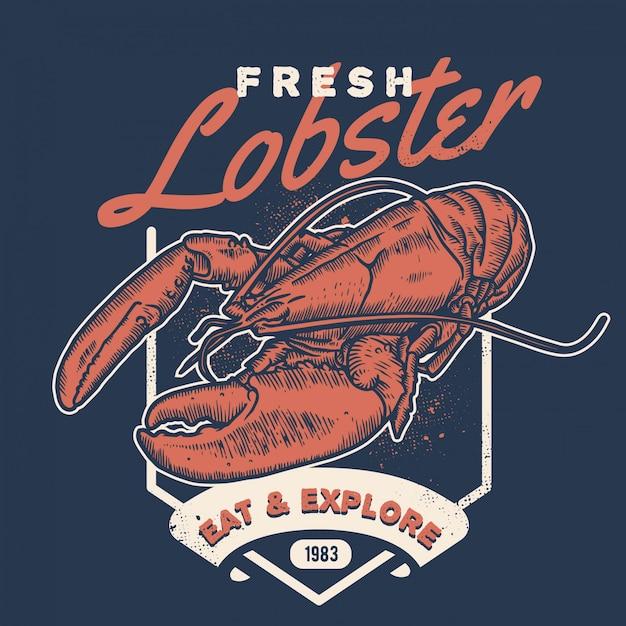 Vintage lobster handdraw style seafood Premium Vector