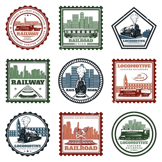 Vintage locomotive stickers and stamps set Free Vector