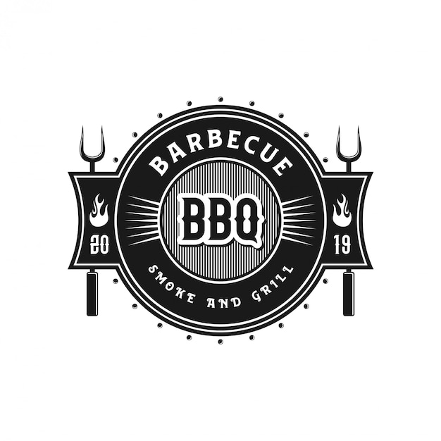 Vintage logo for barbecue restaurants Premium Vector