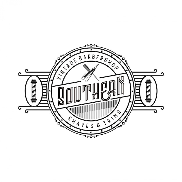 Vintage logo for barbershop with scissors elements and razor blades Premium Vector