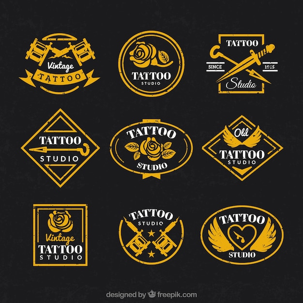 Vintage logo collection for tattoo studio Free Vector