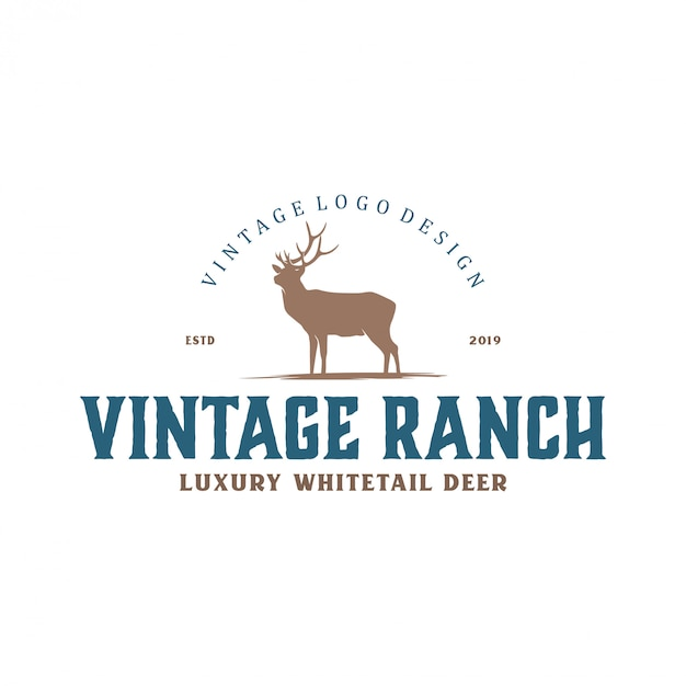Vintage logo for deer farms and hunting Premium Vector