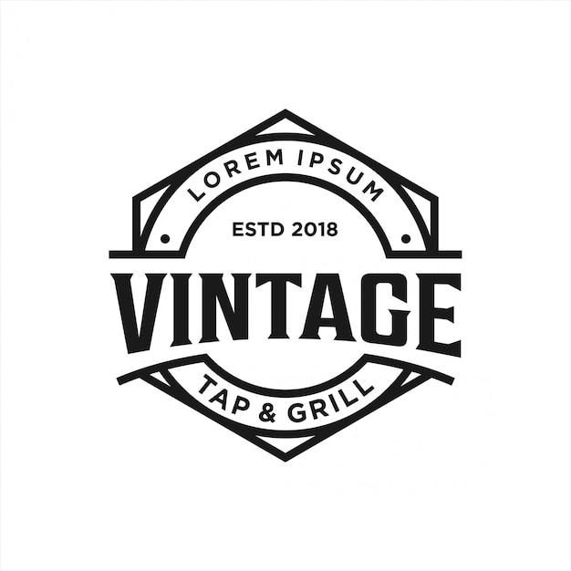 Vintage logo design tap & grill Premium Vector
