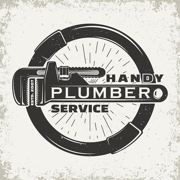 Винтажный логотип графический дизайн, печать штампа, эмблема типографии сантехник, креативный дизайн Premium векторы