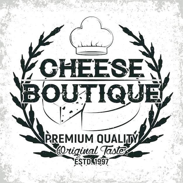 Винтажная графика логотипа, печать штампа, эмблема типографии сыродел Premium векторы
