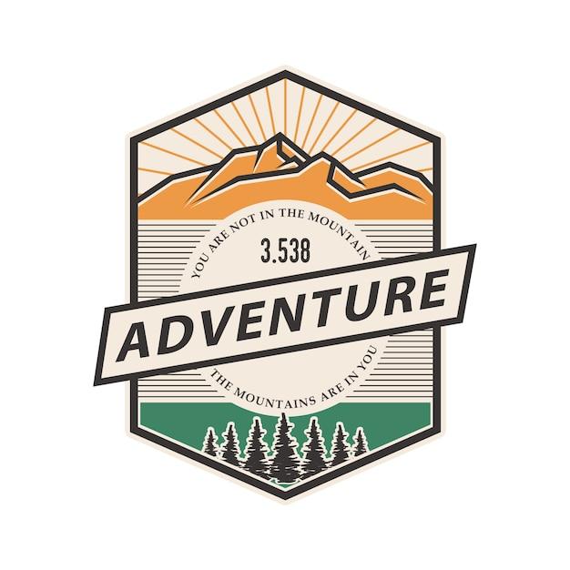 Vintage logo of mountain badge Premium Vector