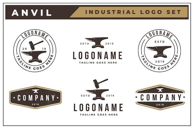 Vintage logo set of anvil Premium Vector