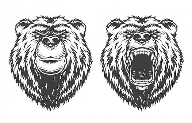 Винтажный логотип в стиле медведя Бесплатные векторы