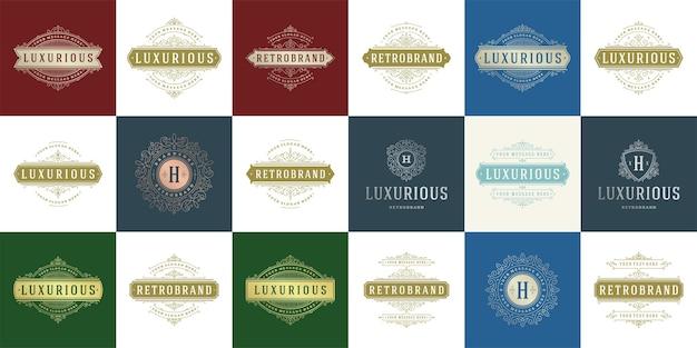 ヴィンテージのロゴとモノグラムセットエレガントな繁栄ラインアート優雅な装飾品ビクトリア朝様式のテンプレート。 Premiumベクター