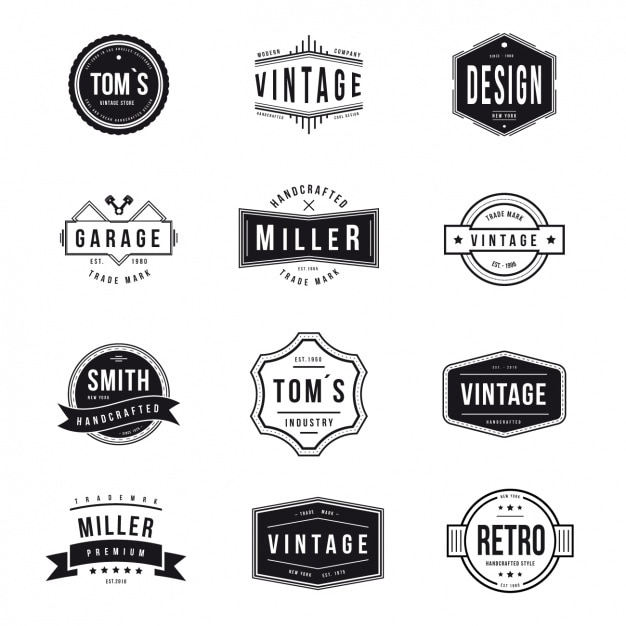 Vintage Logos Collection Free Vector