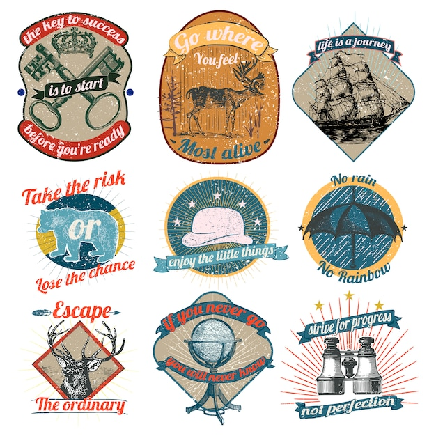 Vintage logos collection Free Vector