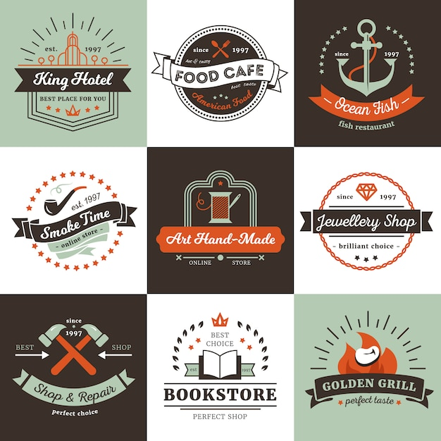 Vintage logos of shops hotel and cafe design concept with ribbons rays Free Vector
