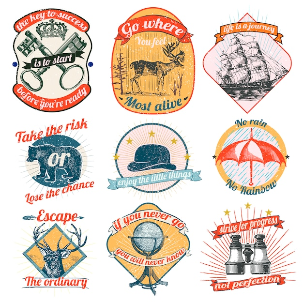 Vintage logos and stickers collection Free Vector