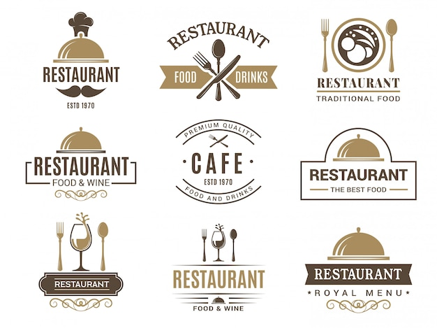 Vintage logotypes and various symbols for   restaurant menu Premium Vector