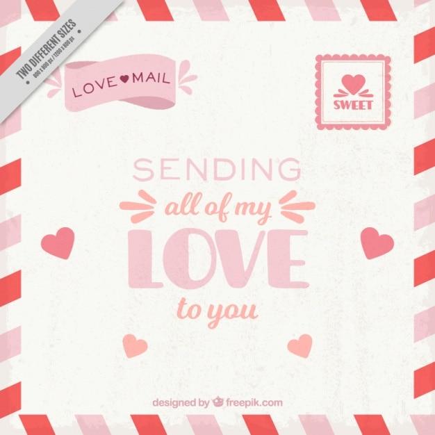 vintage love letter background free vector