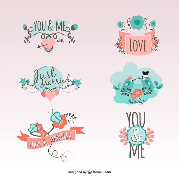 Vintage love stickers Free Vector