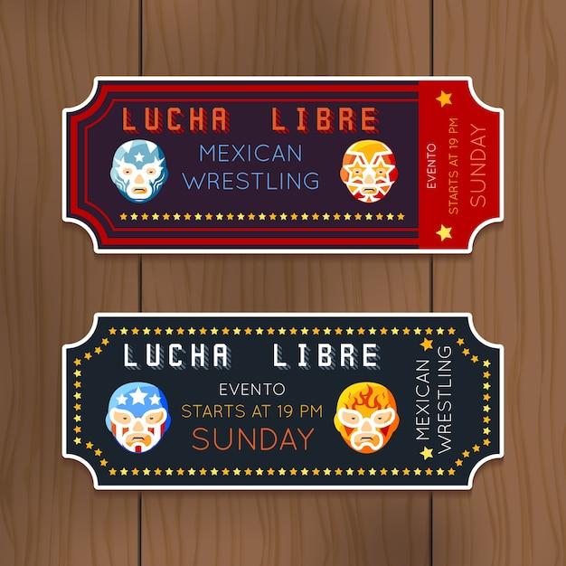 Biglietti lucha libre vintage con maschere di wrestling messicane. competizione di lottatori. Vettore gratuito