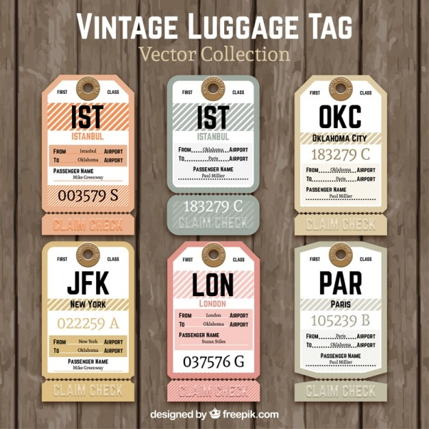 Vintage luggage tag Vector | Free Download