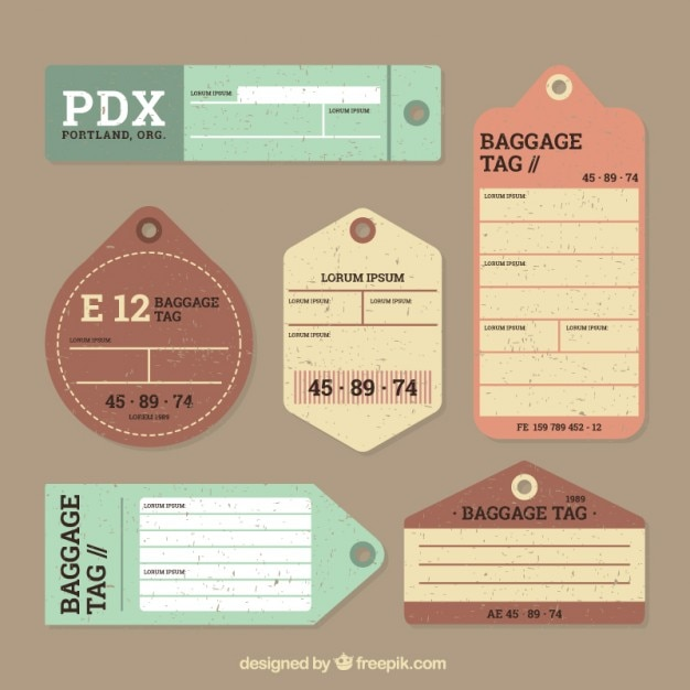 Vintage luggage tags set in flat design Free Vector