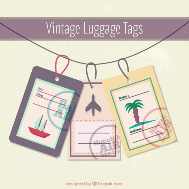 Vintage Luggage Tags Template Vector | Free Download