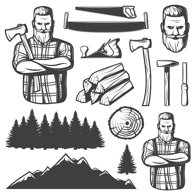 Vintage lumberjack elements Free Vector