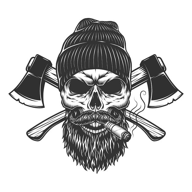 Винтажный череп дровосека в шапке Бесплатные векторы