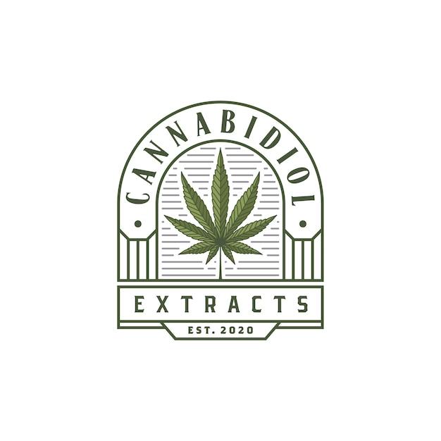 ビンテージ高級cbd大麻マリファナ麻葉ロゴ Premiumベクター
