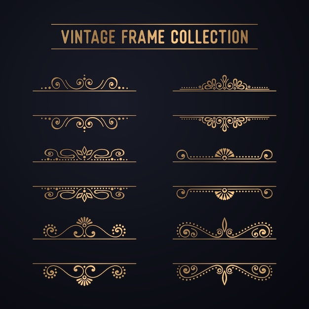 Vintage luxury frame collection Free Vector