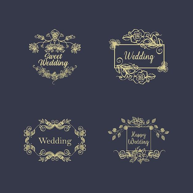 Vintage Luxury Gold Floral Dark Background For Wedding