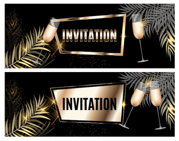 Vintage luxury golden ornate invitation with palm leaf and glasses of champagne Premium Vector