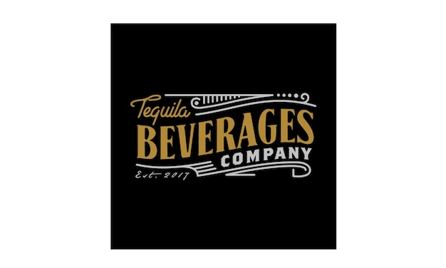 Vintage luxury label logo design for beverage Premium Vector