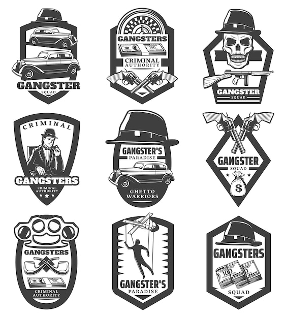 Vintage mafia emblems set with gangster classic cars revolvers gun hat skull money puppet roulette smoking pipes knuckle isolated Free Vector