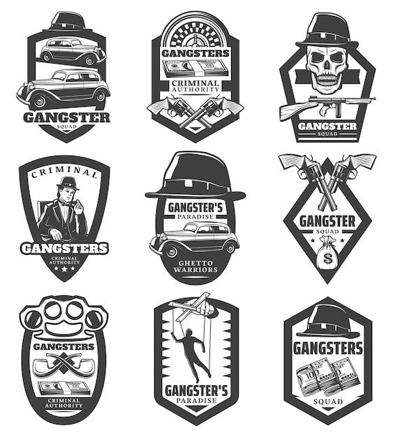 Винтажные эмблемы мафии с гангстерскими классическими автомобилями, револьверами, пистолетом, шляпой, черепом, деньгами, марионеткой, курительными трубками, рулеткой, изолированным Бесплатные векторы