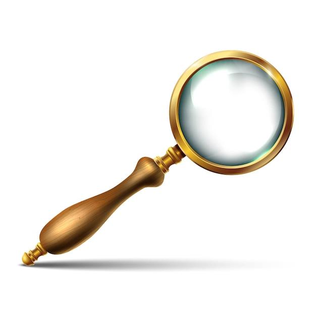 黄金の詳細と木製の柄が付いたヴィンテージの虫眼鏡。白い背景の上の孤立したアイコンイラスト。 Premiumベクター