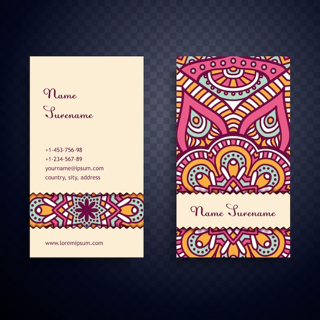 Vintage mandala business card vector free download vintage mandala business card free vector reheart Image collections