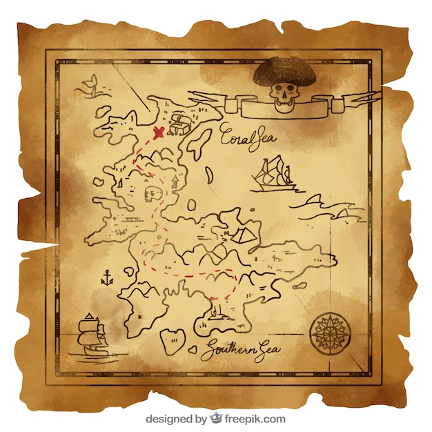 Vintage map with pirate treasure Free Vector