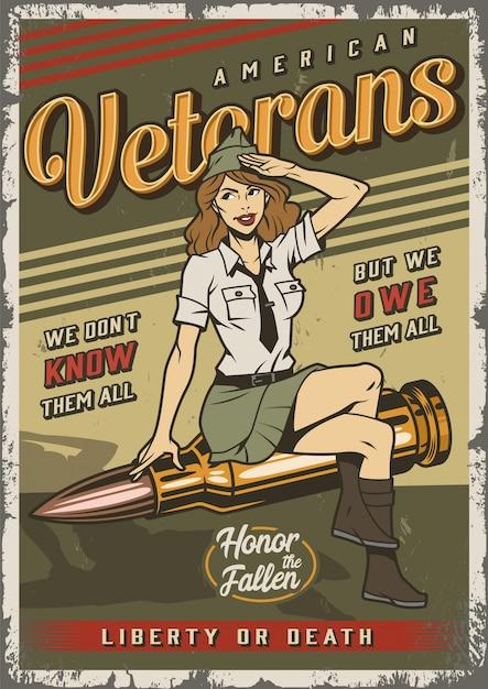 Poster colorato marino vintage con pin up girl Vettore gratuito