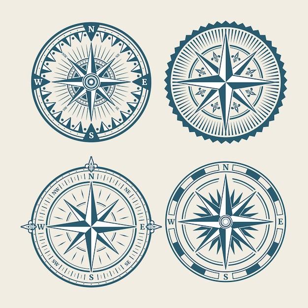 Vintage marine compass logo set Premium Vector