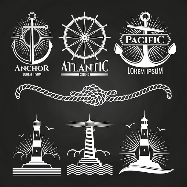 Vintage marine nautical logos and emblems with lighthouses anchors rope Premium Vector