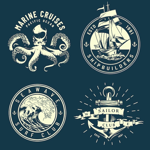Vintage marine and nautical logos Free Vector