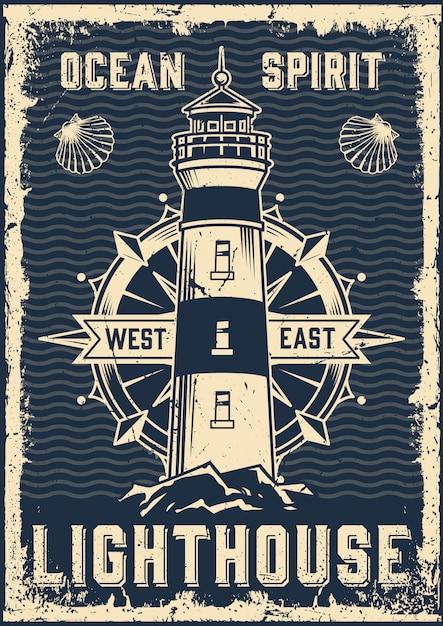 Vintage marine poster Premium Vector