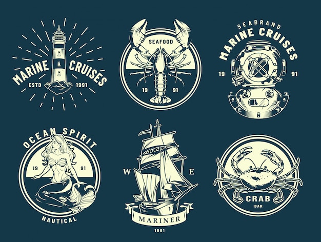 Vintage marine and sea labels Free Vector