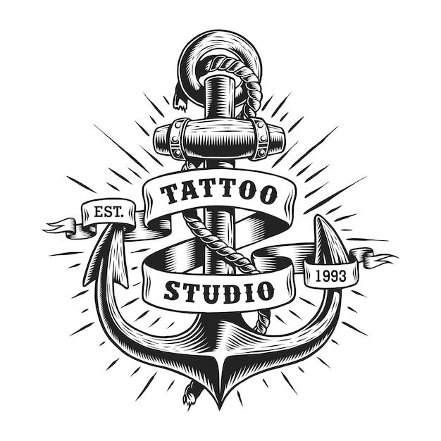 Vintage marine tattoo label Free Vector