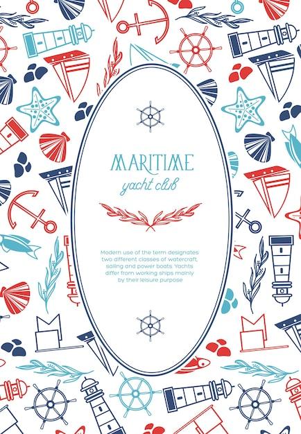 Modello marino vintage con testo in cornice ovale ed elementi nautici disegnati a mano Vettore gratuito