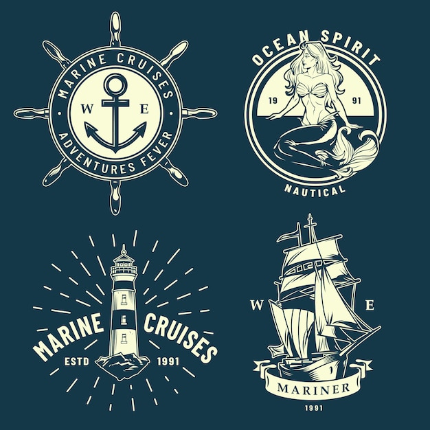 Vintage maritime and sea emblems set Free Vector