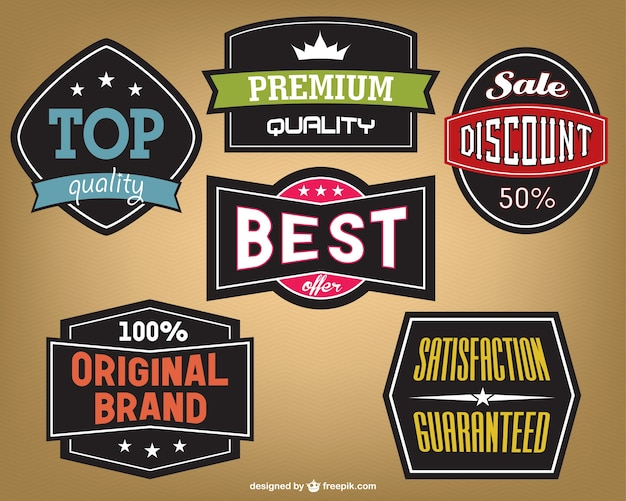 Vintage marketing stickers design free vector