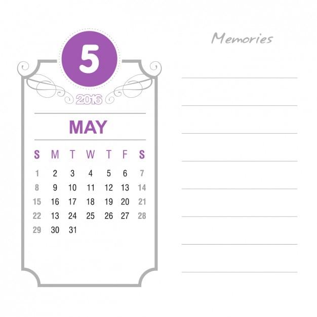 Vintage May Calendar 2016