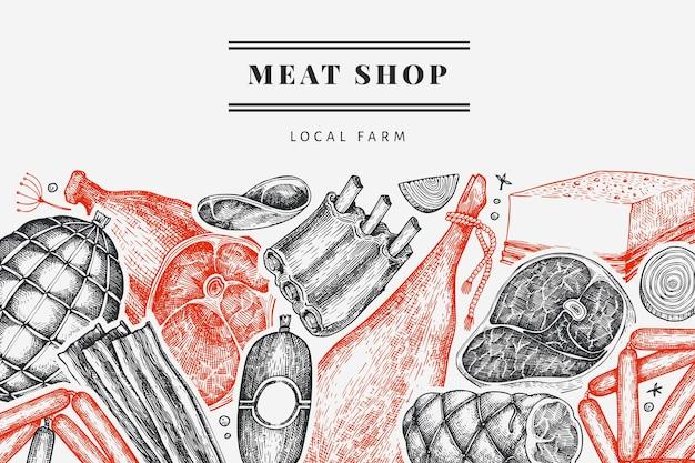 Шаблон оформления старинных мясных продуктов Premium векторы