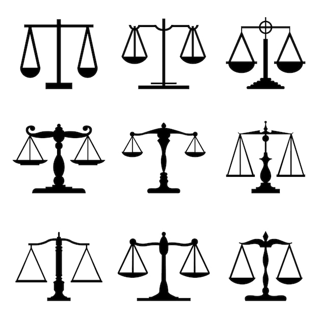 Vintage mechanical balance scales fair equal judge icons Premium Vector